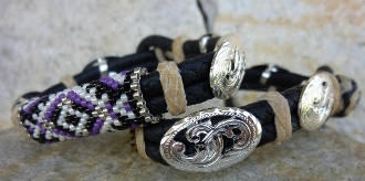 Hand Beaded bracelet with silver conchos